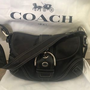 COACH black purse with buckle accent